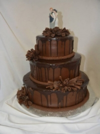 Goodies Bakeshop 3 tier wedding cake, Chocolate Sin, Chocolate Ganache, dark chocolate curls.