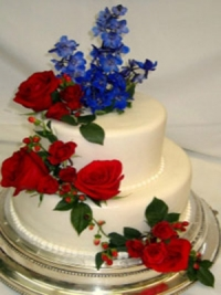 Simple Two Tier Wedding Cake with Silk Flowers by Goodies Bakeshop