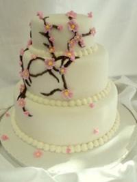 Cherry Blossom three tier wedding cake by Goodies Bakeshop
