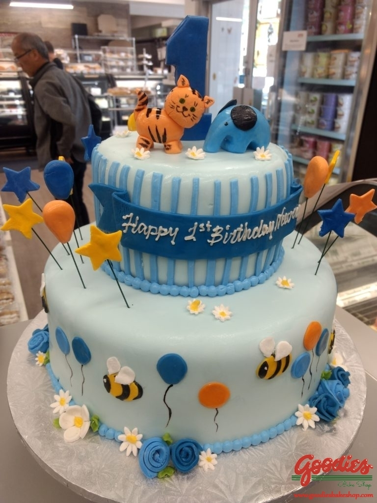 First Birthday Cake With Bees Elephant And Kitty